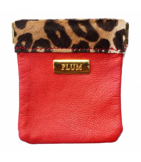 Leather Coin Purse Red with Animal Print Rita