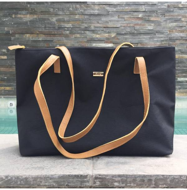 Black leather and nylon handbags Camila