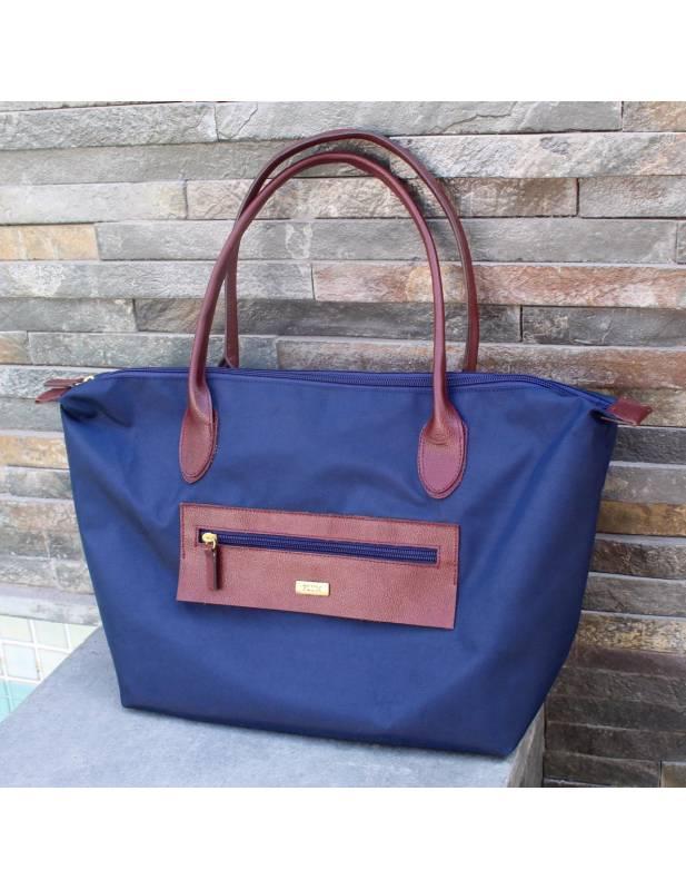 Black leather and nylon handbags Noa