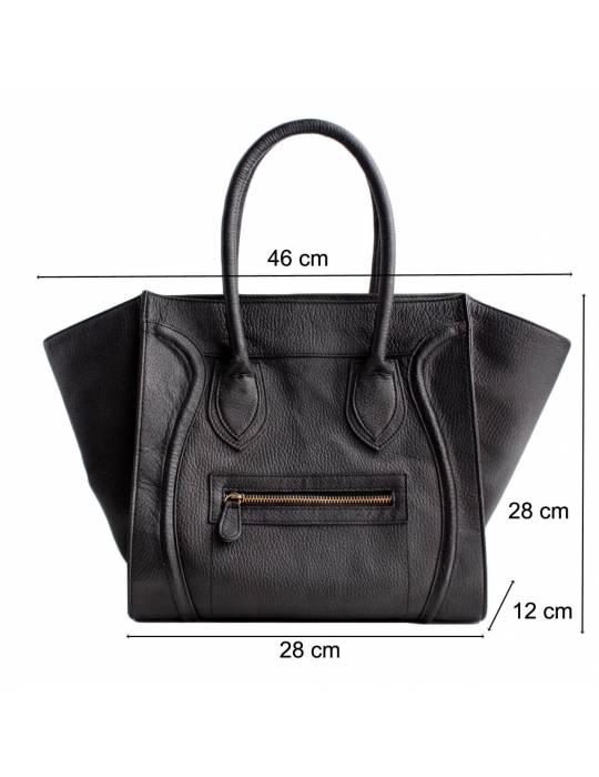 Black Leather handbag Victoria
