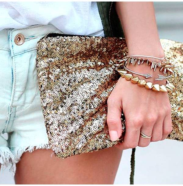 Handbags Clutch London in gold color