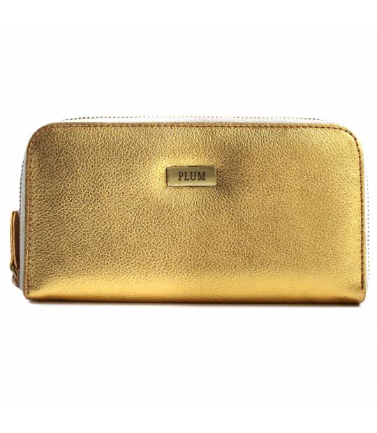 Gold Leather Wallet Lia with white zipper