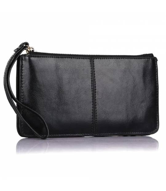 Black Leather Cluch Pia