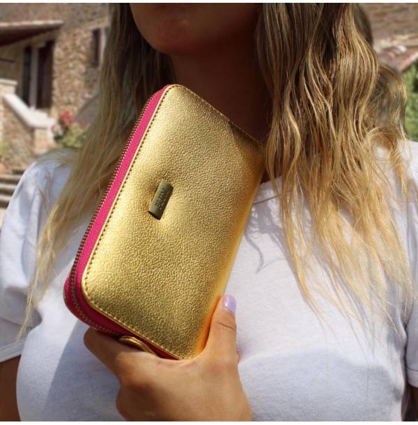 Gold Leather Wallet Lia with hot pink zipper by Plum