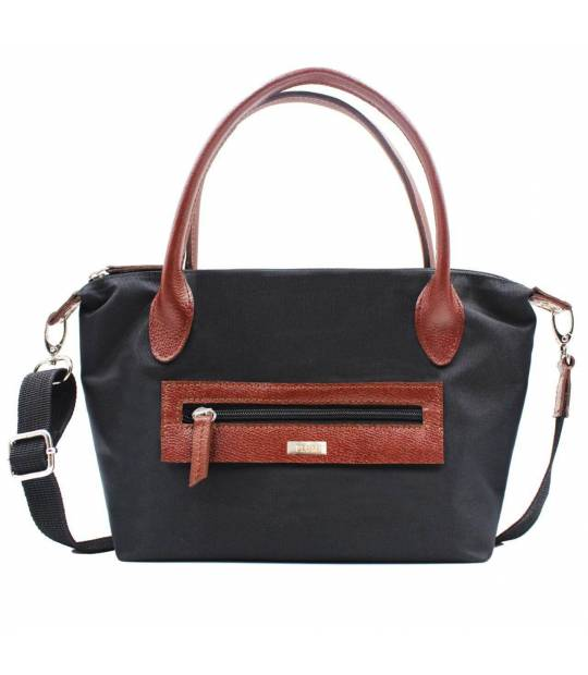 Black leather and nylon handbags Noa