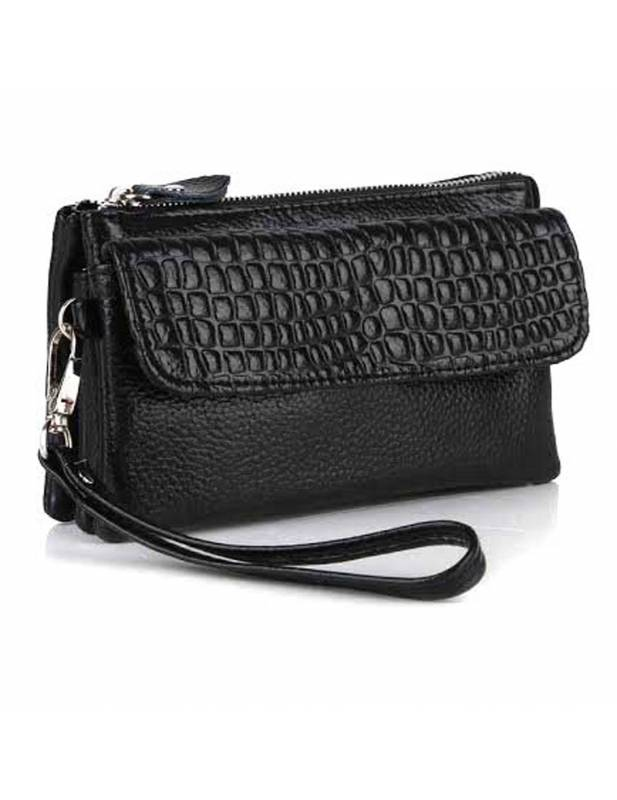 Leather Handbags Jill in black color